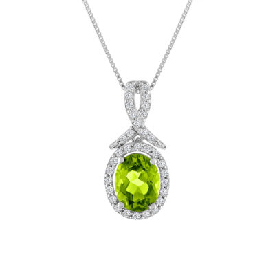 Womens Genuine Green Peridot Sterling Silver Oval Pendant Necklace