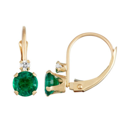 Green Emerald 10K Gold Drop Earrings