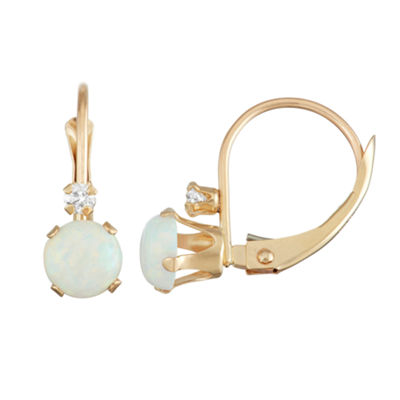 Lab Created White Opal 10K Gold Round Drop Earrings