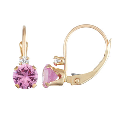 Lab Created Pink Sapphire 10K Gold Drop Earrings
