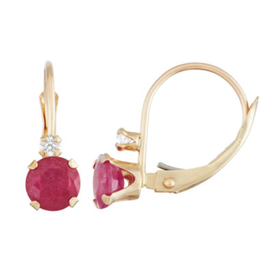Red Ruby 10K Gold Drop Earrings