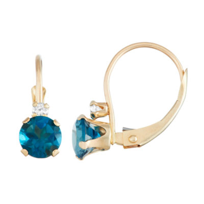 Genuine Blue Topaz 10K Gold Round Drop Earrings