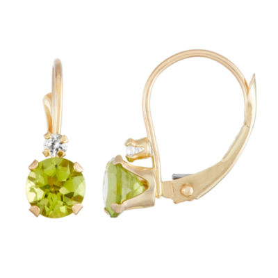 Green Peridot 10K Gold Drop Earrings