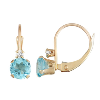 Genuine Blue Blue Topaz 10K Gold Drop Earrings