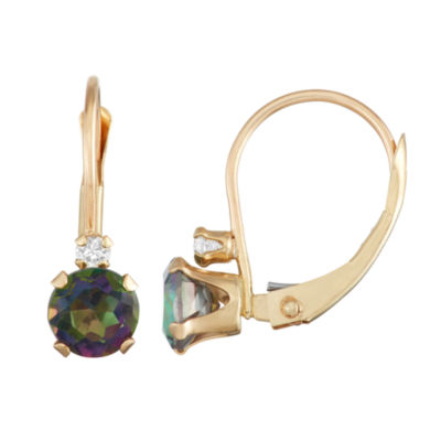 Genuine Multi Color Topaz 10K Gold Round Drop Earrings
