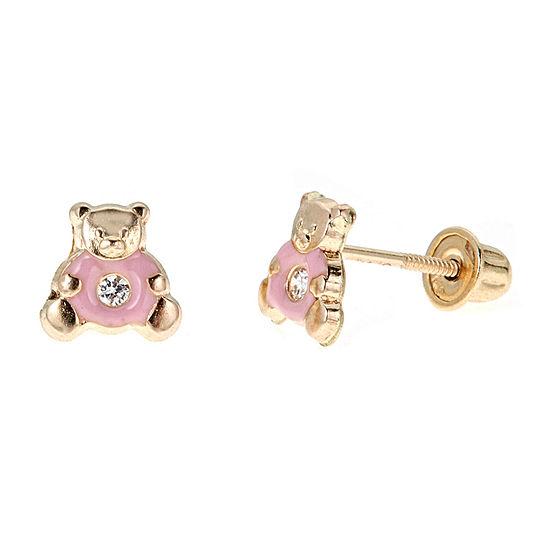 Cubic Zirconia 14k Gold 6mm Bear Stud Earrings