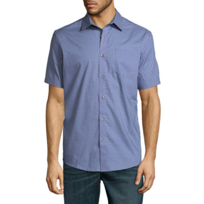 Claiborne Short Sleeve Geometric Button-Front Shirt