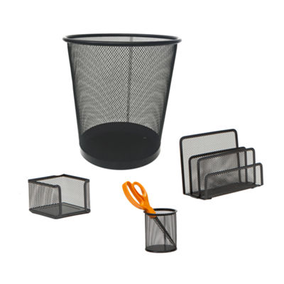 Mind Reader 4 pc Desk Organizer Set With Trash Can