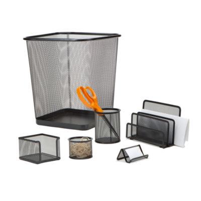 Mind Reader 4 pc Desk Organizer Set With Trash Can