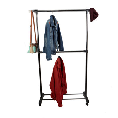 Mind Reader Adjustable 2-Tier Double-Rod Rolling Garment Rack