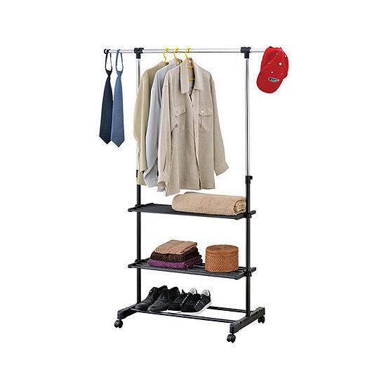 Mind Reader Metal 3-Shelf Adjustable Garment Rack with Wheels