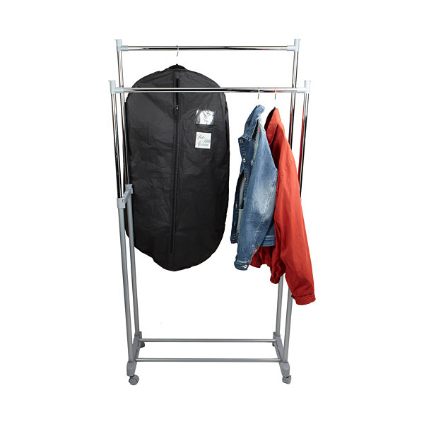 Mind Reader Adjustable Double Garment Rack with Wheels