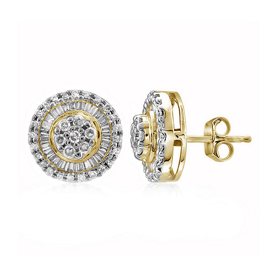 1/2 CT. T.W. Diamond 10K Yellow Gold Cluster Earrings
