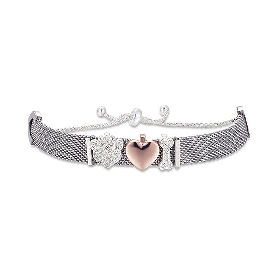 Footnotes Crystal Stainless Steel Heart Bolo Bracelet
