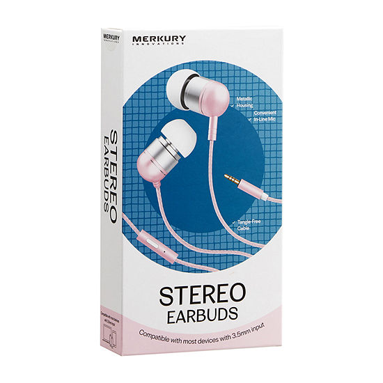 Merkury Innovations Metal Wired Earbuds with Mic