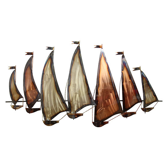 Stratton Home Decor Sunset Sailboat Beach Nautical Metal Wall Art