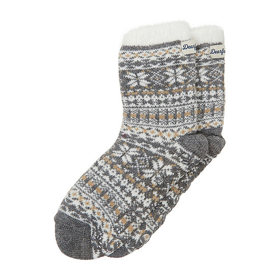 Dearfoams Cabin Sock Womens Bootie Slippers