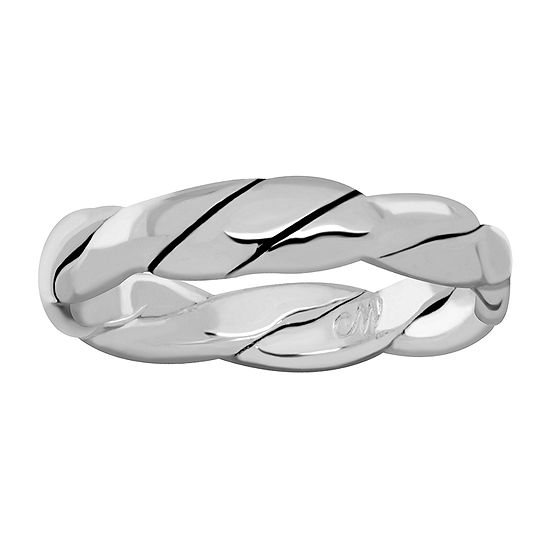 Sparkle Allure Womens 4MM Pure Silver Over Brass Band