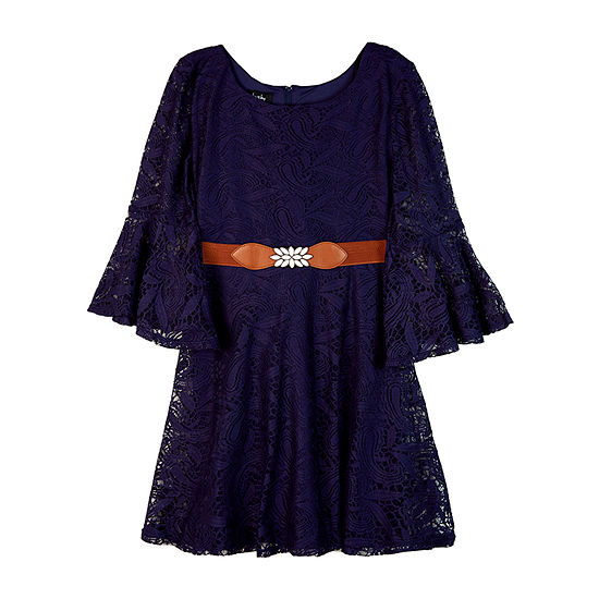 by&by girl Girls Belted Long Sleeve Bell Sleeve A-Line Dress - Big Kid
