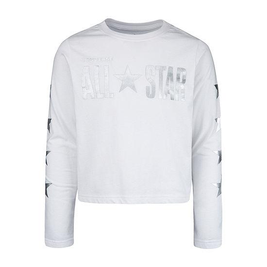 Converse Girls Crew Neck Long Sleeve Graphic T-Shirt - Big Kid