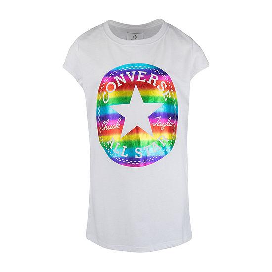 Converse Girls Crew Neck Short Sleeve Graphic T-Shirt - Big Kid