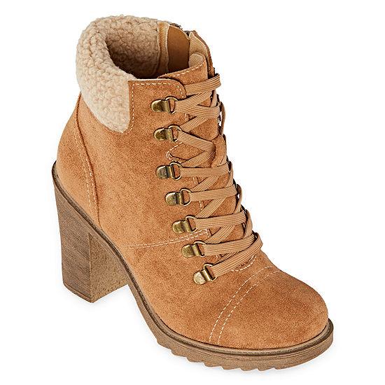 Pop Womens Genevra Lace Up Boots Block Heel