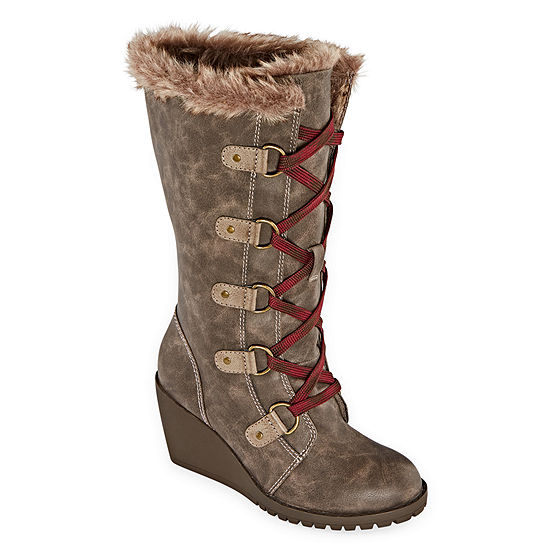 Pop Womens Tyche Wedge Heel Lace Up Boots