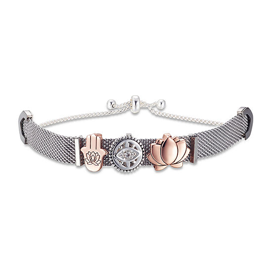 Footnotes Crystal Stainless Steel Flower Bolo Bracelet