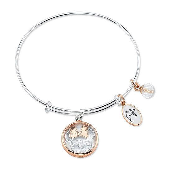 Disney Classics Crystal Stainless Steel Minnie Mouse Bangle Bracelet