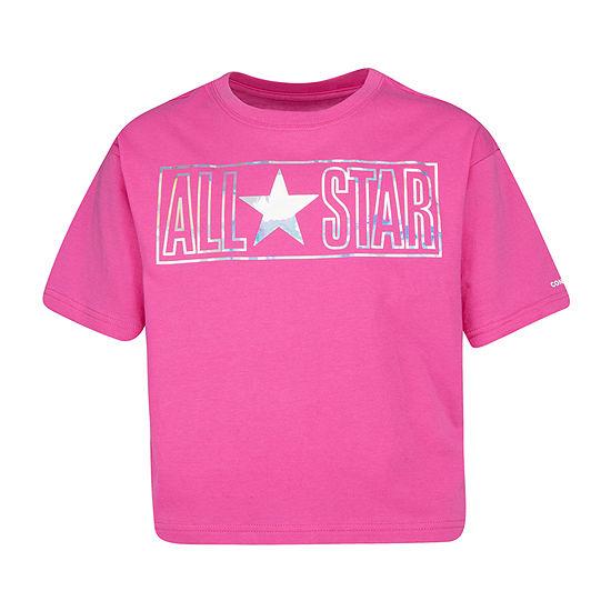 Converse Round Neck Short Sleeve Graphic T-Shirt Preschool / Big Kid Girls