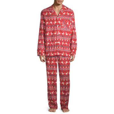 North Pole Trading Co. Llama Coat Front Family Mens 2-pc. Pant Pajama Set
