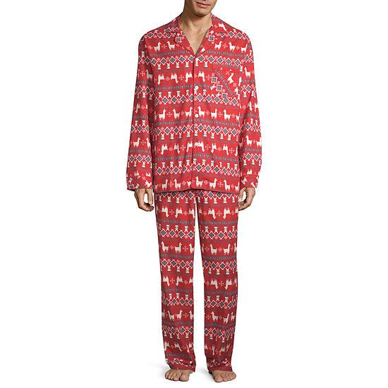 North Pole Trading Co. Llama Coat Front Family Mens 2-pc. Pant Pajama Set