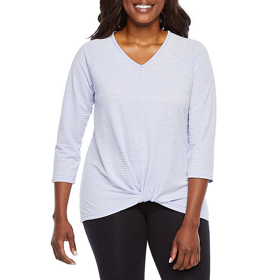 St Johns Bay Active Womens V Neck 3 4 Sleeve T Shirt Petite