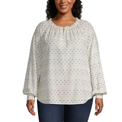 St. John's Bay Shirred Neck Blouse - Plus