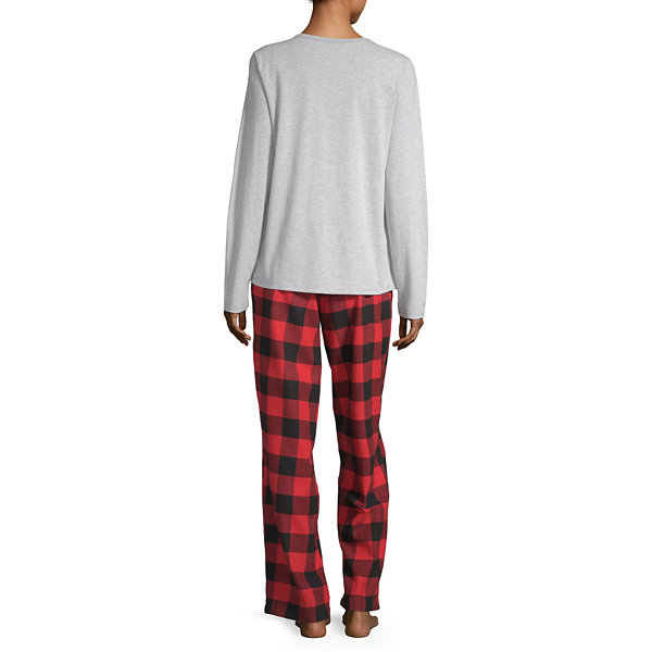 North Pole Trading Co. Buffalo Plaid Family Long Sleeve Womens Pant Pajama Set 2-pc.