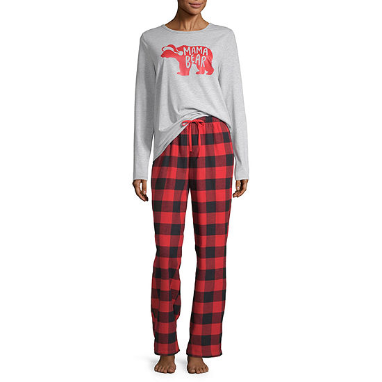 North Pole Trading Co. Buffalo Plaid Family Long Sleeve Womens Pant Pajama Set 2-pc.