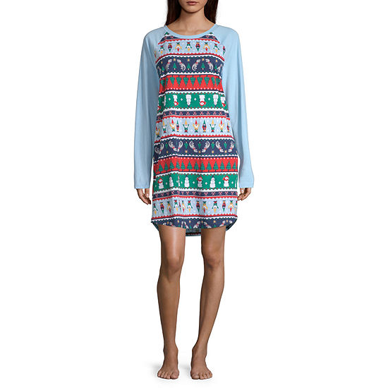 North Pole Trading Co. Fun Fairisle Family Womens Nightshirt Long Sleeve Crew Neck