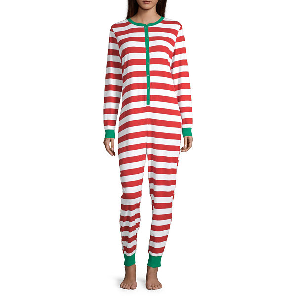 North Pole Trading Co. Red And White Stripe Family Womens One Piece Pajama Long Sleeve
