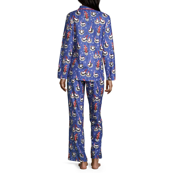 Nite Nite Munki Munki Penguin Family Coat Front Womens Pant Pajama Set 2-pc. Long Sleeve