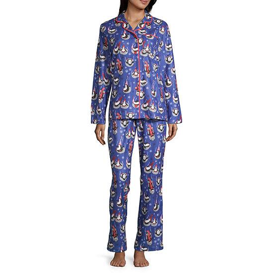 Nite Nite Munki Munki Penguin Family Coat Front Womens Pant Pajama Set 2-pc. Long Sleeve