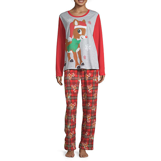 North Pole Trading Co. Rudolph Family Womens Pant Pajama Set 2-pc. Long Sleeve