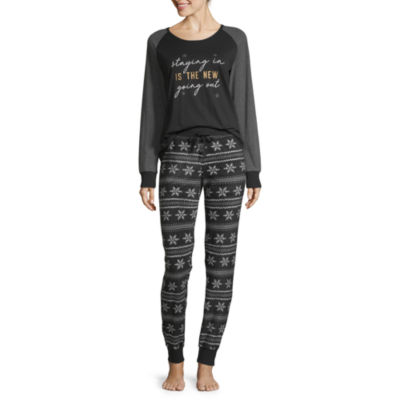 Holiday #Famjams Black Fairisle Foil Womens Pant Pajama Set 2-pc. Long Sleeve