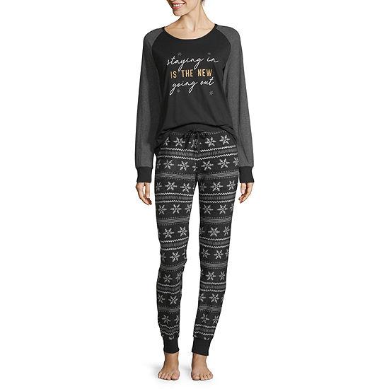 Holiday #Famjams Black Fairisle Foil Womens-Average Figure Pant Pajama Set 2-pc. Long Sleeve