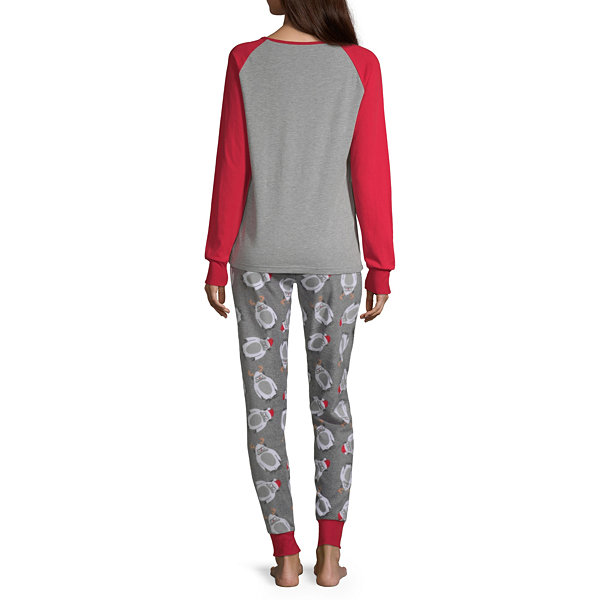 Holiday #Famjams Yeti Family Womens-Average Figure Pant Pajama Set 2-pc. Long Sleeve