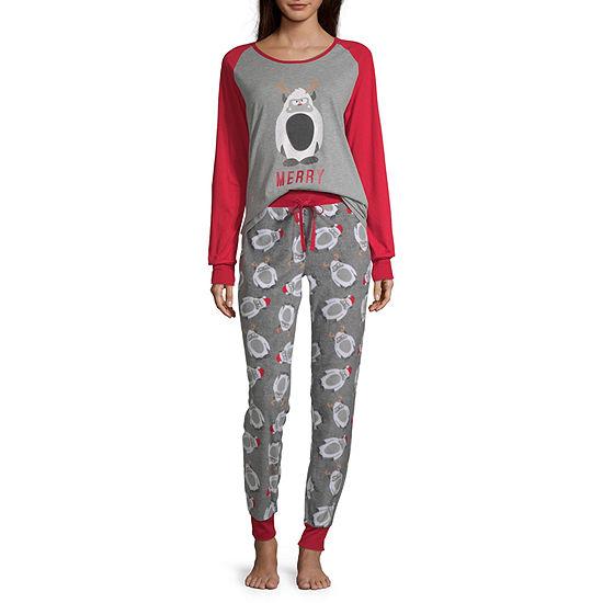 Holiday #Famjams Yeti Family Womens Pant Pajama Set 2-pc. Long Sleeve