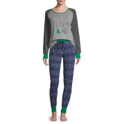 Holiday #Famjams Explore Family Womens-Average Figure Pant Pajama Set 2-pc. Long Sleeve