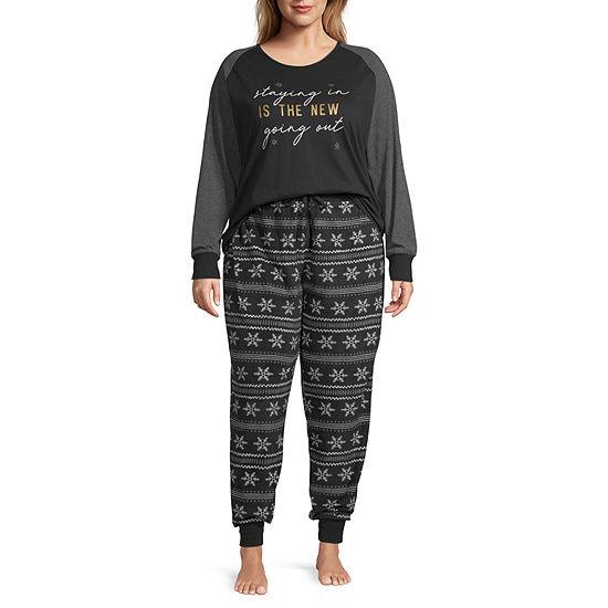 Holiday #Famjams Black Fairisle Foil Family Womens-Plus Pant Pajama Set 2-pc. Long Sleeve