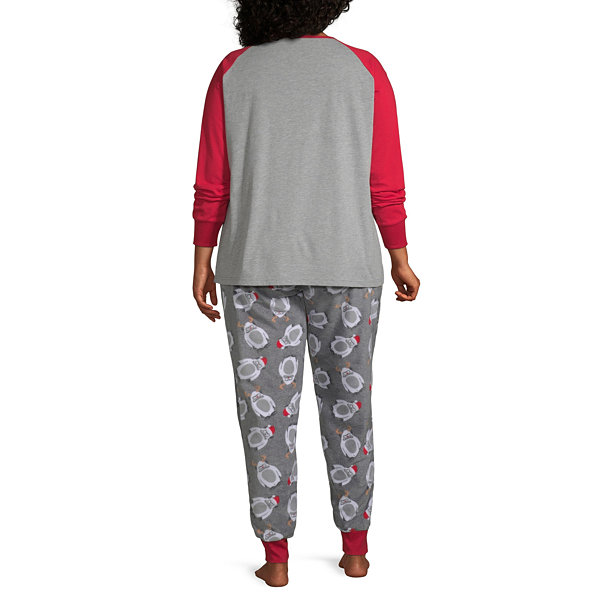 Holiday #Famjams Yeti Family Womens-Plus Pant Pajama Set 2-pc. Long Sleeve