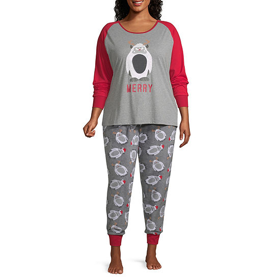 Holiday #Famjams Yeti Family Womens-Plus Pant Pajama Set 2-pc. Long Sleeve