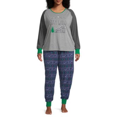 Holiday #Famjams Explore Family Womens-Plus Pant Pajama Set 2-pc. Long Sleeve